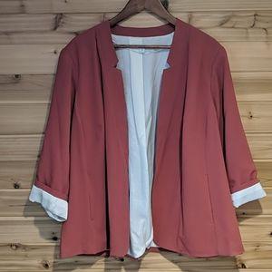 Kensie Rose Elbow Sleeve Open Front Blazer 2x